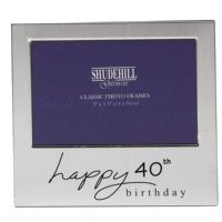 Happy Birthday Satin Silver Plated Photo Frame 40th